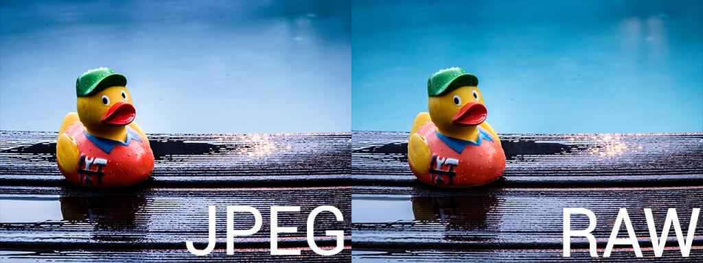 Bildvergleich von JPEG und RAW bei den Einstellungen in Photoshop.