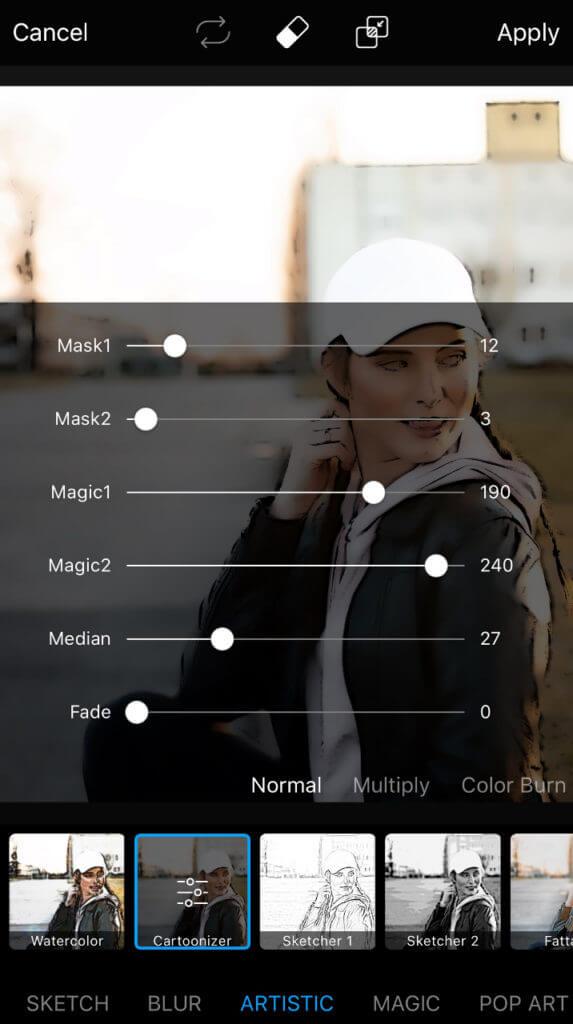 Die Einstellungsmöglichkeiten von PicsArt.
