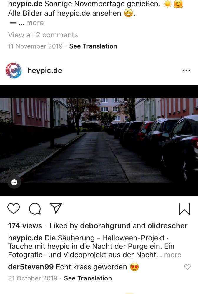 Eine Videodarstellung von 16:9 auf Instagram. Instagram Bilder verbessern durch ein Format.